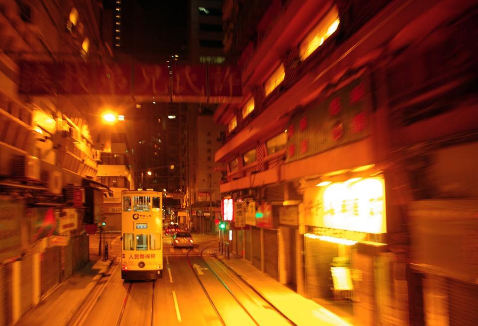 Hong Kong tram at night
