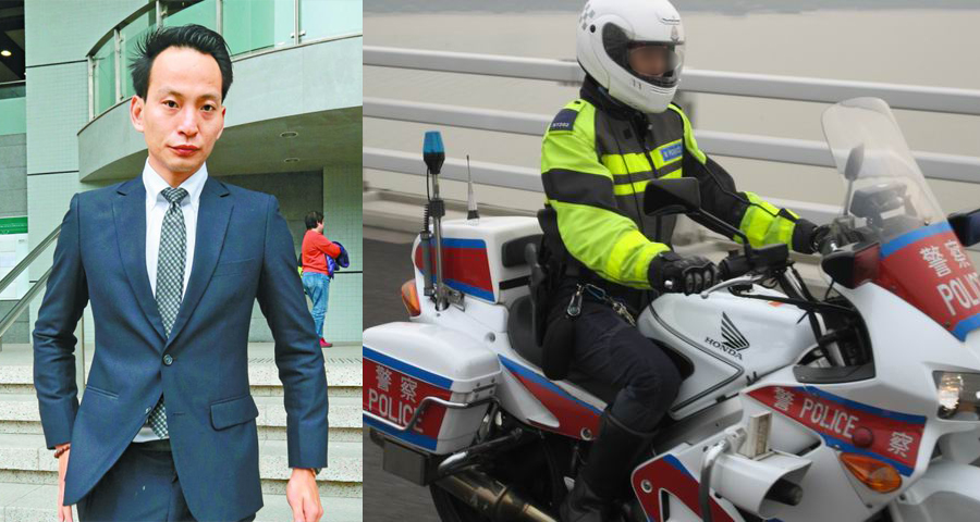 Cheung Wai-lun (left) and a traffic police officer on duty. Photo: Apple Daily and Police.