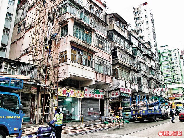 Bamboo scaffolding on a building