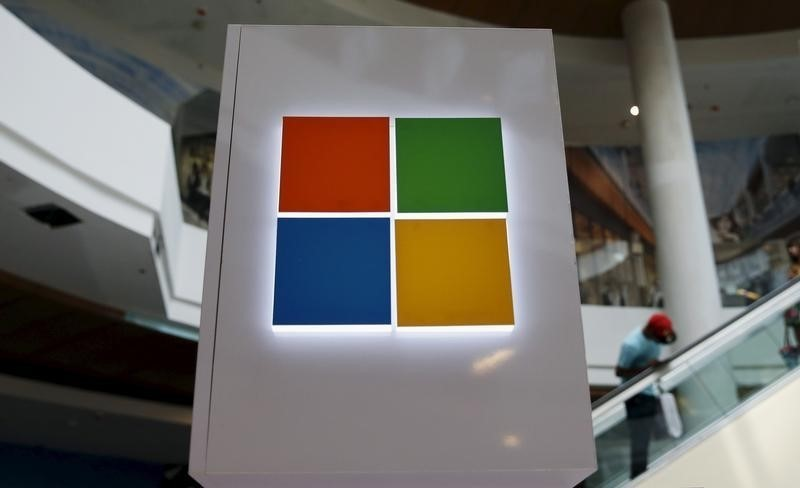 A Microsoft logo is seen at a pop-up site for the new Windows 10 operating system at Roosevelt Field in Garden City, New York. File Photo: Reuters/Shannon Stapleton.