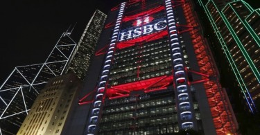 An exterior view of the HSBC headquarters at the financial Central district in Hong Kong