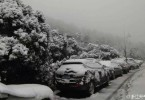 Cars stuck in snow in Hangzhou