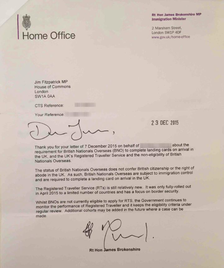 A letter from UK Immigration Minister James Brokenshire to member of parliament Jim Fitzpatrick.