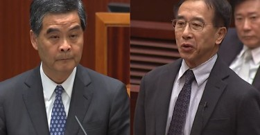 Leung Chun-ying (left) and James Tien (right).