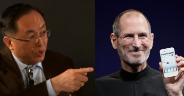 Nicholas Yang (left) and Steve Jobs (right).