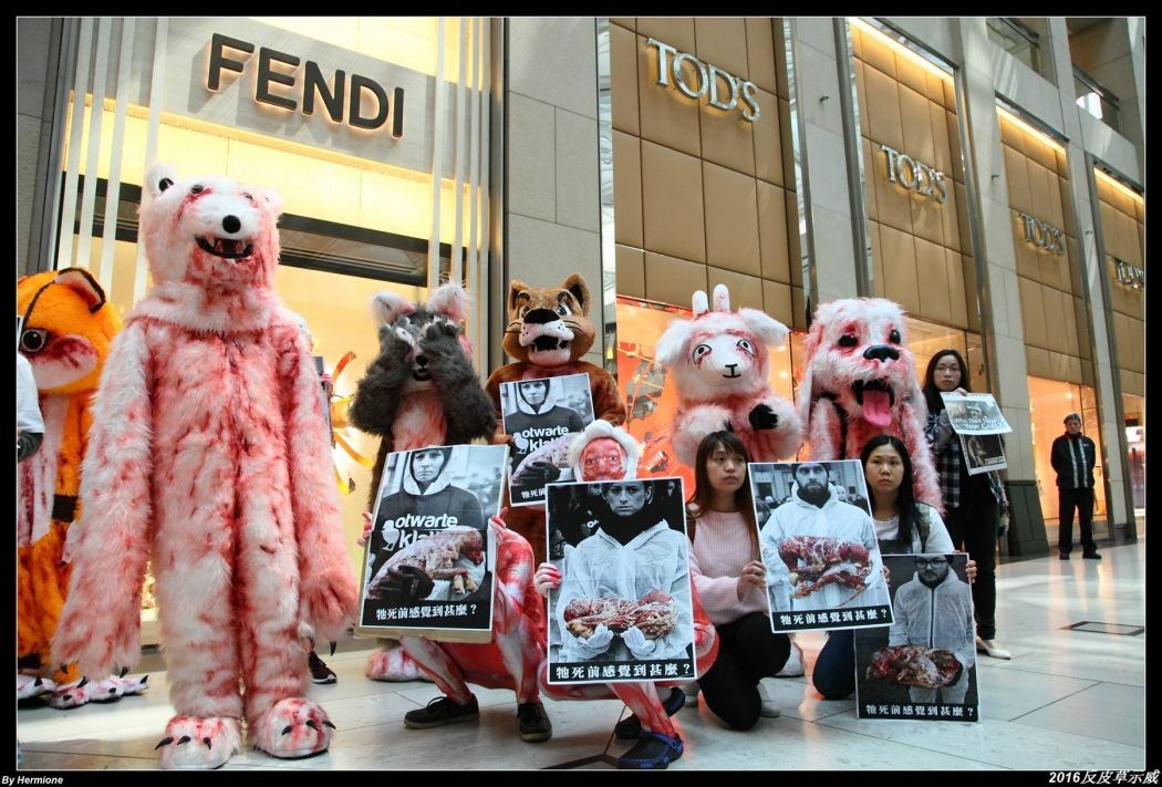 Animal welfare group dress up as 'bloody animals' in anti-fur fair