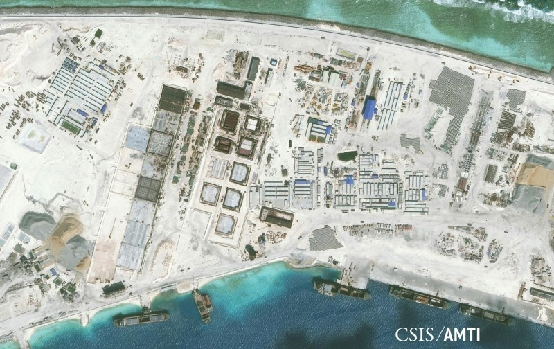 Center for Strategic and International Studies (CSIS) Asia Maritime Transparency Initiative image of the northwest side of Mischief Reef