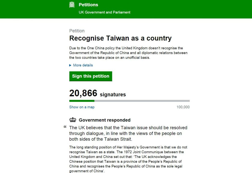 Petition on Taiwan with response from UK
