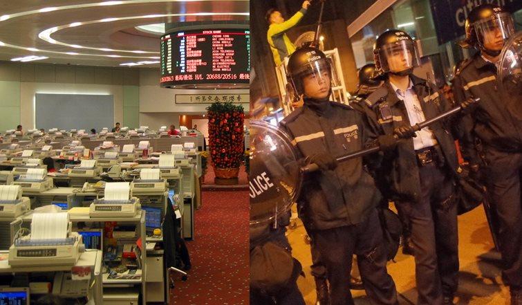 stock market hang seng riots