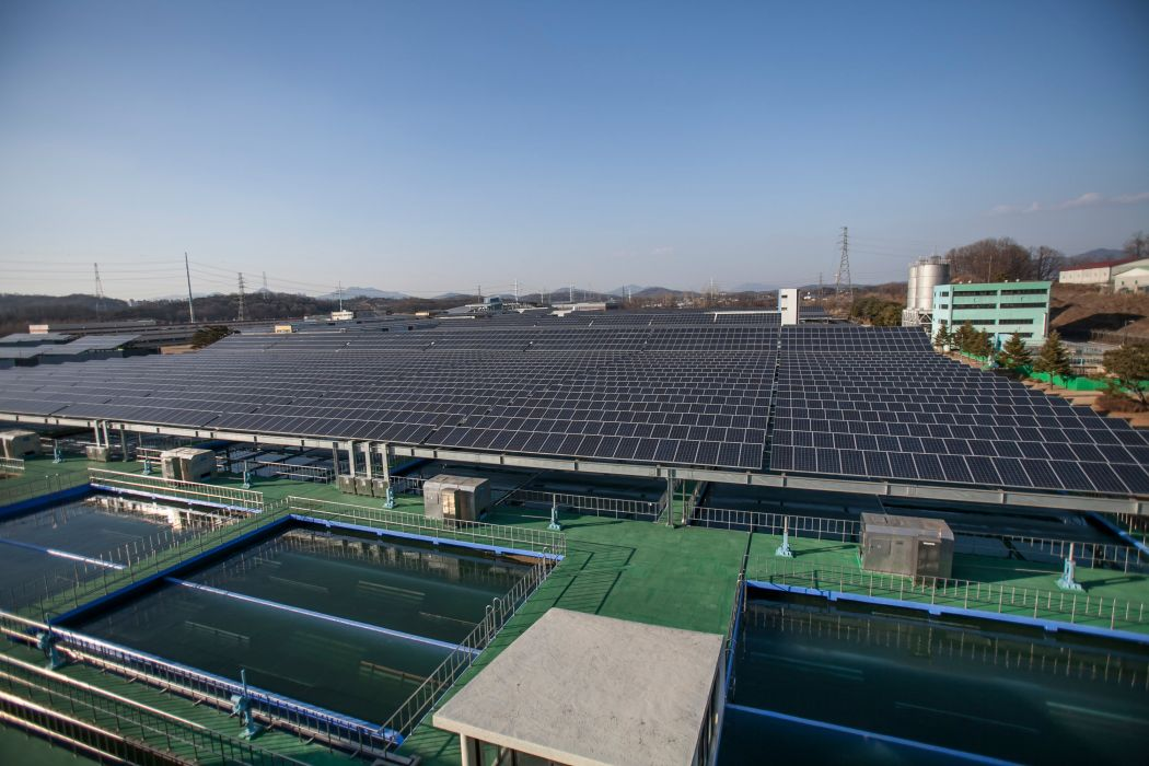 Steel structures were installed in water treatment plants to support solar panels on top of water pools
