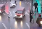 van rolls over girl