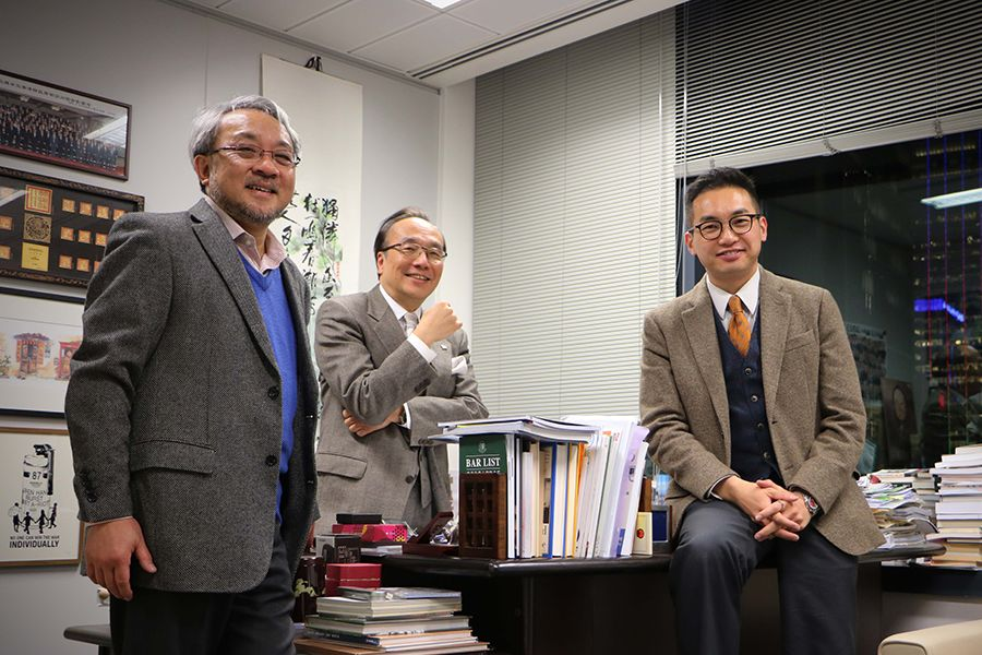 From left: Deputy of Civic Party Stephen Chan Ching-kiu who led the drafting of the manifesto, lawmakers Alan Leong Kah-kit and Alvin Yeung Ngok-kiu.