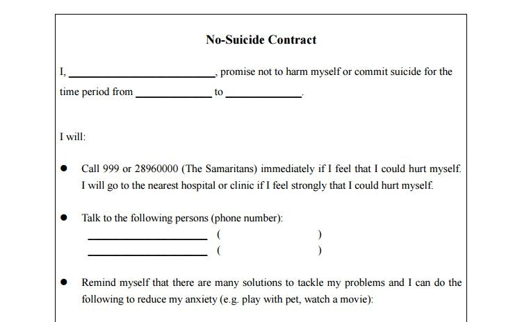 No Suicide contract