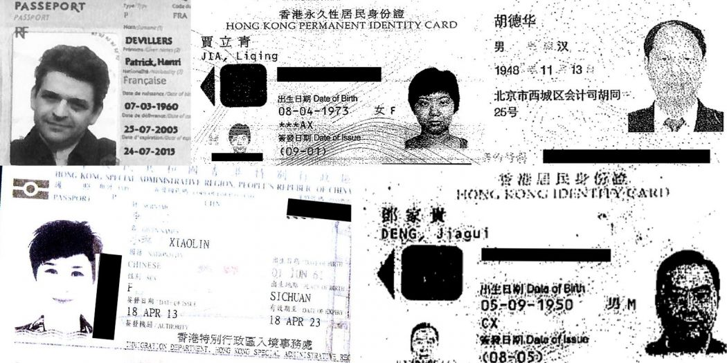 Identity documents from the Panama Papers. Clockwise from top left: Patrick Henri Devillers, Jia Liqing, Hu Dehua, Deng Jiagui and Li Xiaolin. Photo: ICIJ.