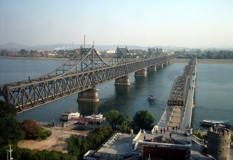 Bridge connecting Shinuiju, North Korea and Dandong, China.