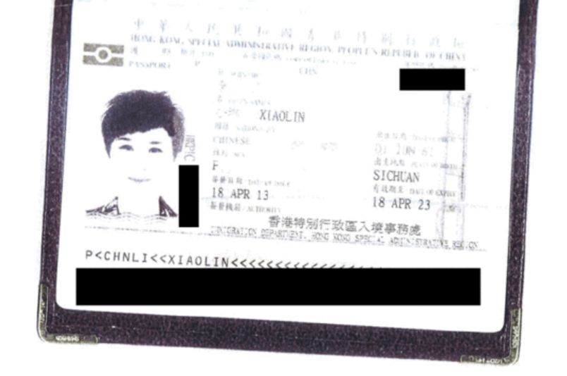 Li Xiaolin's HKSAR passport.