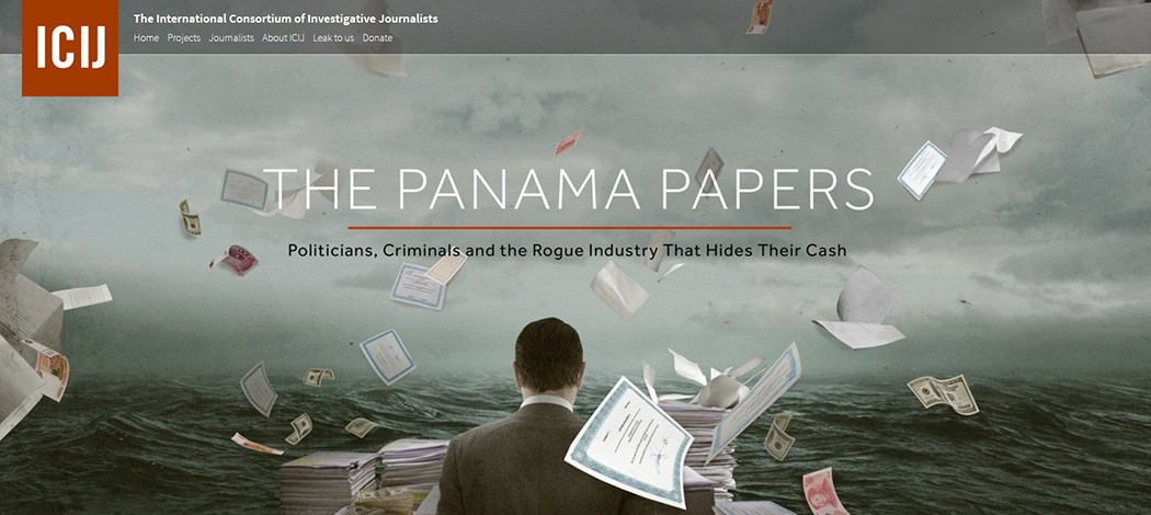 A banner of the ICIJ investigation on Panama Papers.