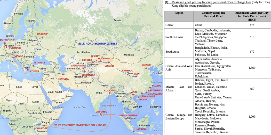 A Belt and Road map and list of countries included in the scheme.