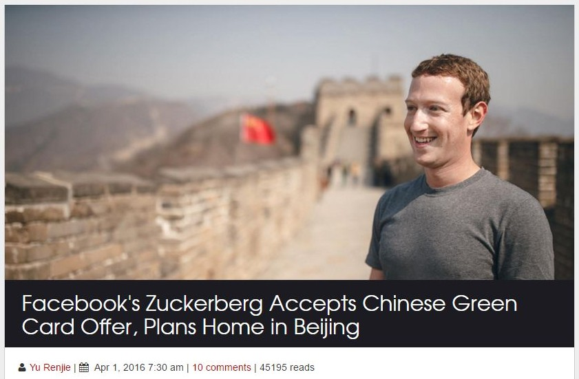 Zuckerberg moves to Beijing April Fools
