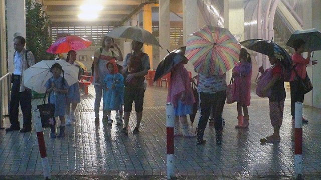 kids in the rain