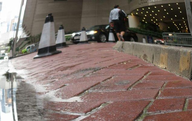 bricks in rainwater