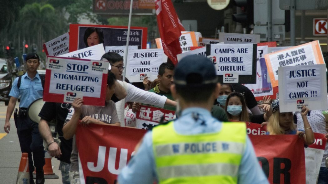 hong kong refugees asylum protest