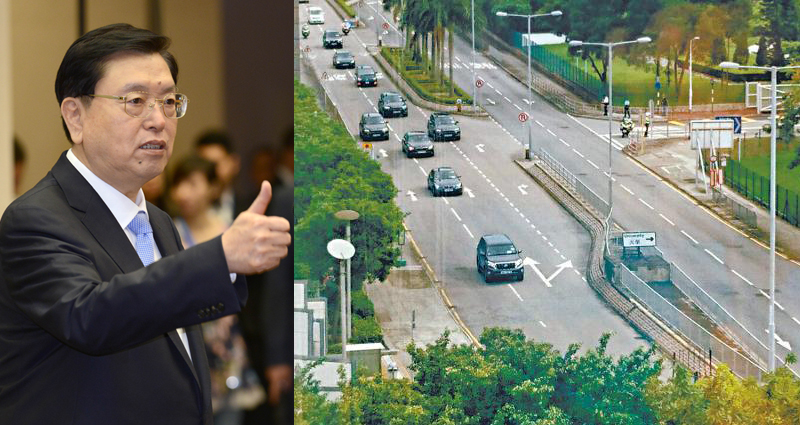 Zhang Dejiang's motorcade driving opposite direction. Photo: Apple Daily