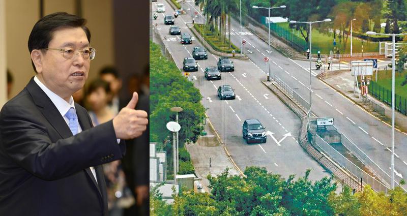Zhang Dejiang's motorcade driving opposite direction. Photo: Apple Daily