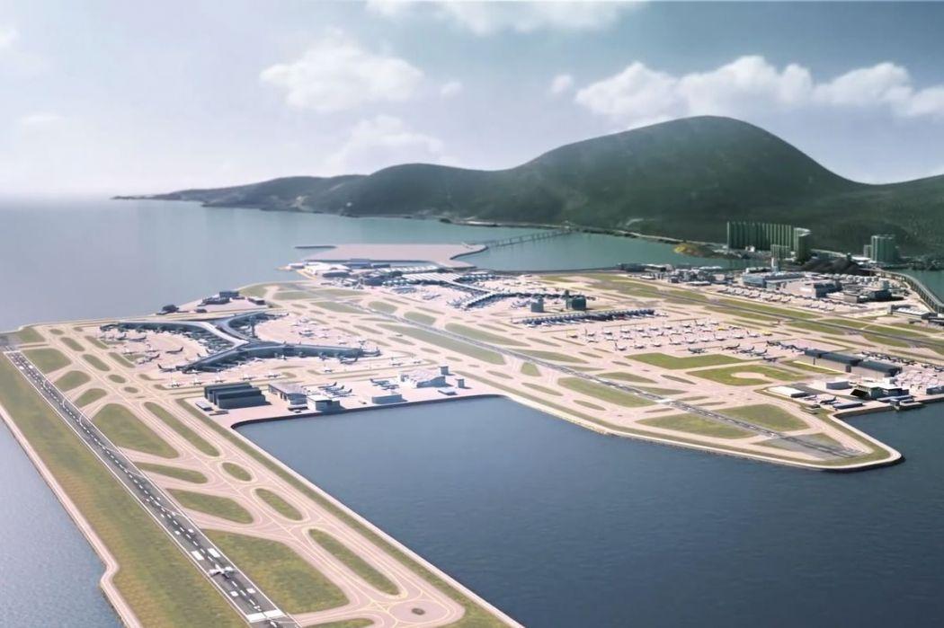 A rendered mock-up image for the third runway system at the Hong Kong International Airport. Photo: Hong Kong Airport Authority.