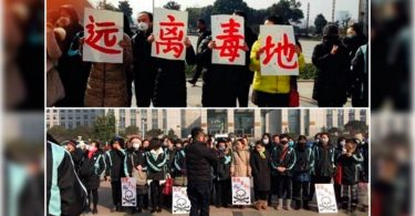 Parents protest outside the Changzhou Foreign Language School demanding the relocation of the school campus.