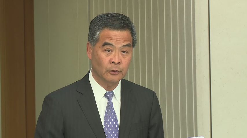 CY Leung speaking to reporters before the weekly Executive Council meeting. Photo: GovHK screenshot