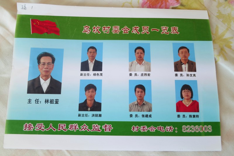 A poster of the democratically-elected village committee from an election in 2012 in Wukan in China's southern Guangdong province