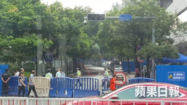 barricades outside the court Wukan village