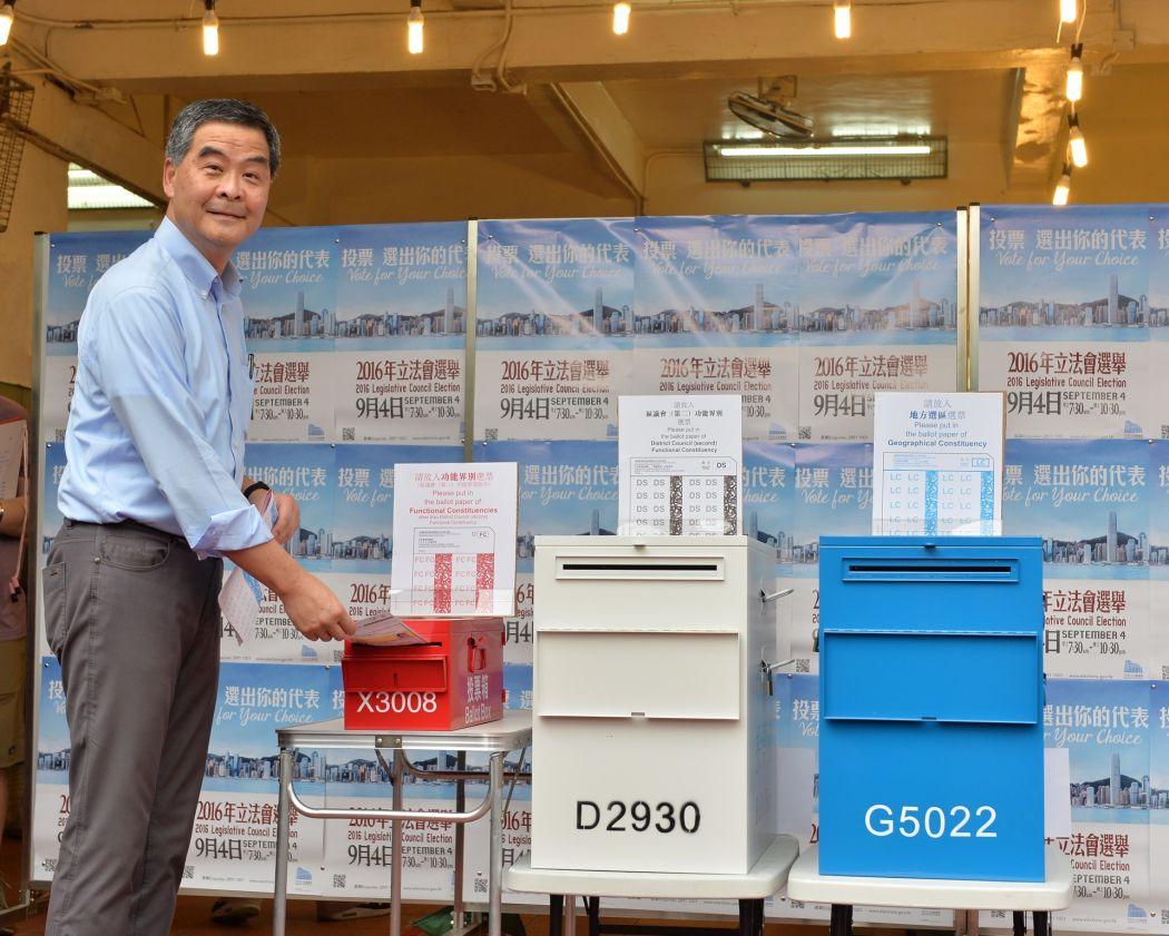 Former Chief Executive Leung Chun-ying casting his ballot in the 2016 Legislative Council Election.  2016 legco election