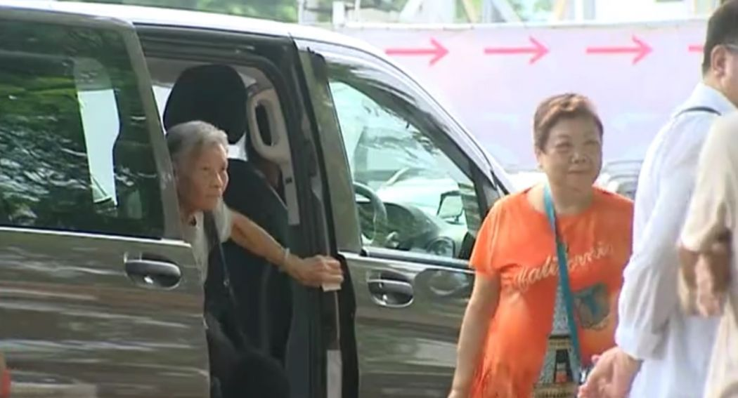 Elderly people driven to a polling station. Photo: Now TV screenshot.