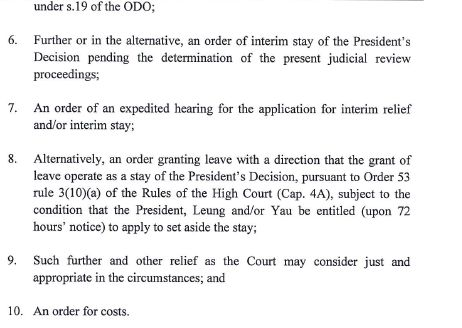 legco judicial review writ