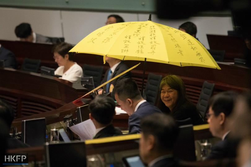 long hair yellow umbrella