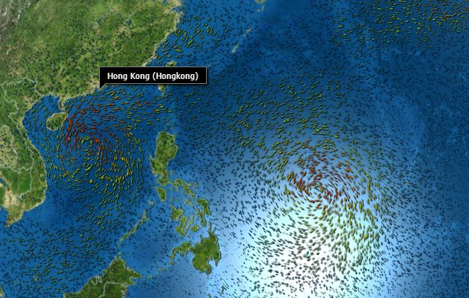 two typhoons Sakira Haima