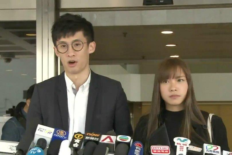 Baggio Leung Chung-hang and Yau Wai-ching at the High Court. Photo: Apple Daily.