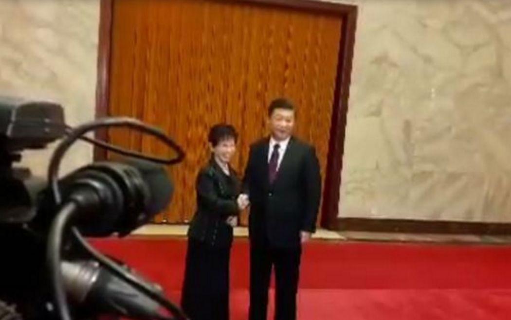 Hung Hsiu-chu and Xi Jinping. Photo: Apple Daily.