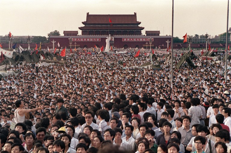 crowd beijing tiananmen square massacre crackdown 1989