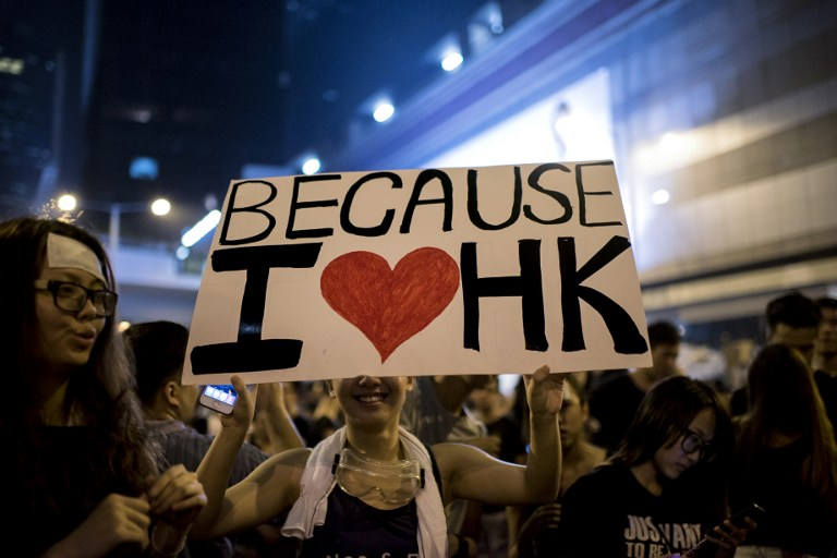 i love democracy occupy hong kong protest sign