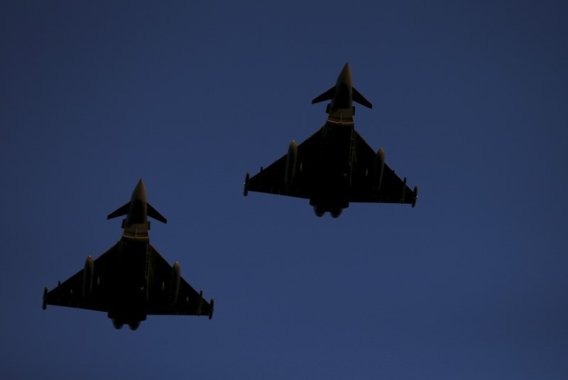 RAF Typhoons fly above RAF Lossiemouth in Scotland