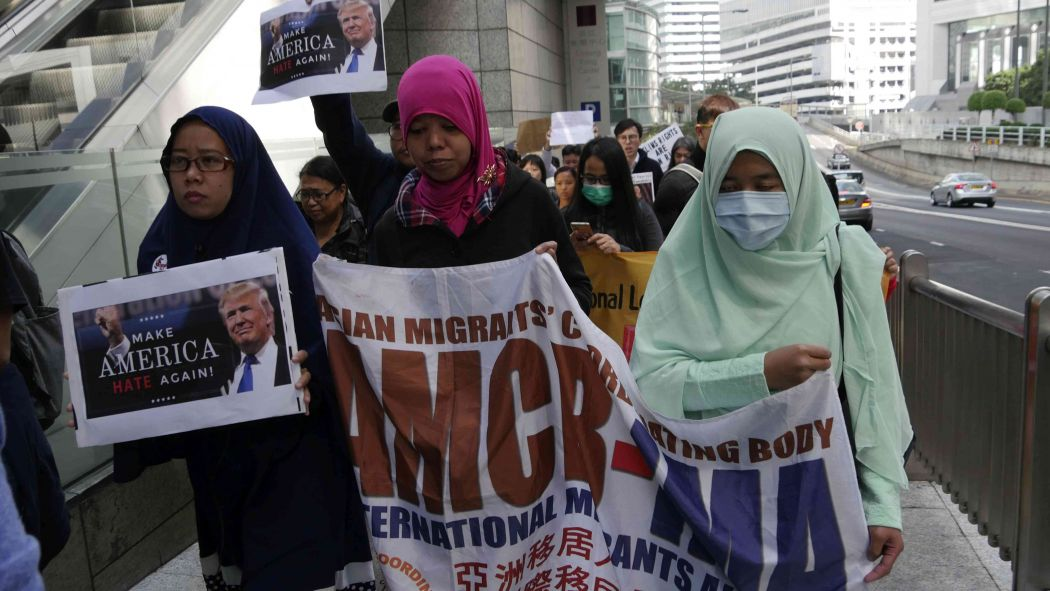 trump immigration ban protest hong kong