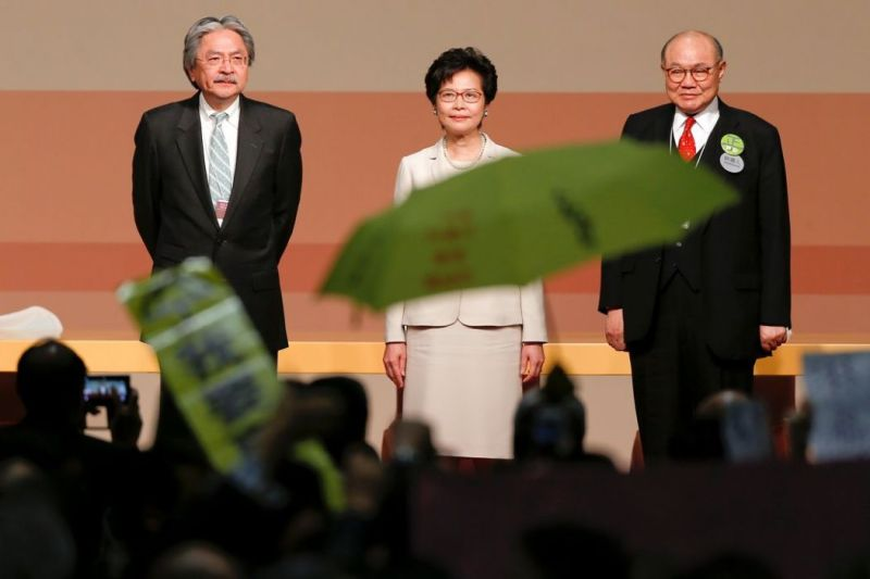chief executive election 2017 John Tsang, Carrie Lam and Woo Kwok-hing.