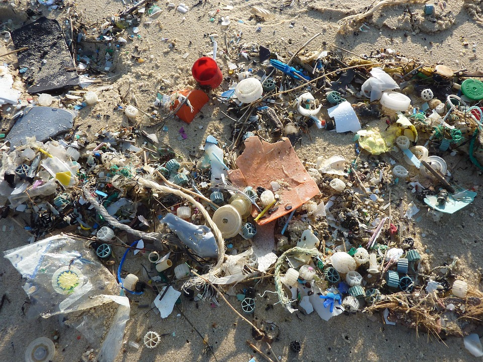 plastic waste beach