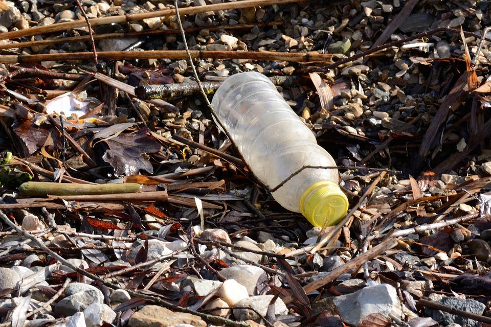 plastic bottle waste beach