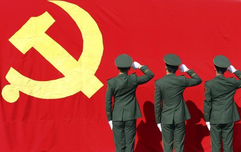 communist party soldiers sickle hammer