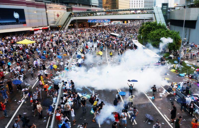 occupyhk occupy umbrella tear gas