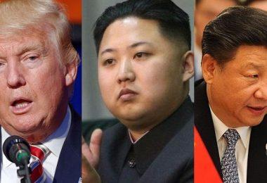 Donald Trump, Kim Jong-un and Xi Jinping